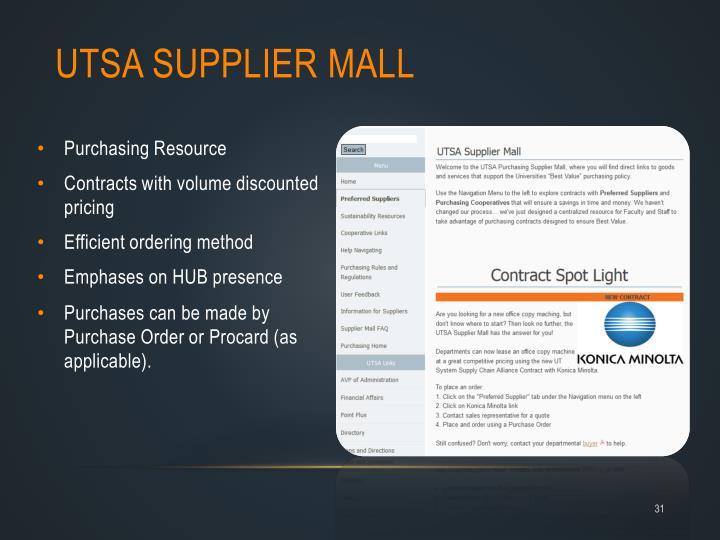 UTSA Supplier Mall