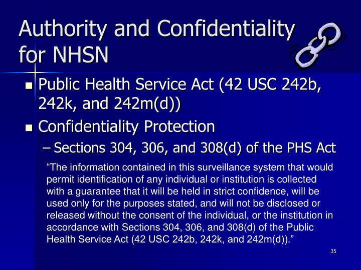 Authority and Confidentiality for NHSN
