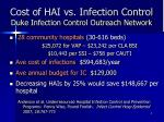 cost of hai vs infection control duke infection control outreach network