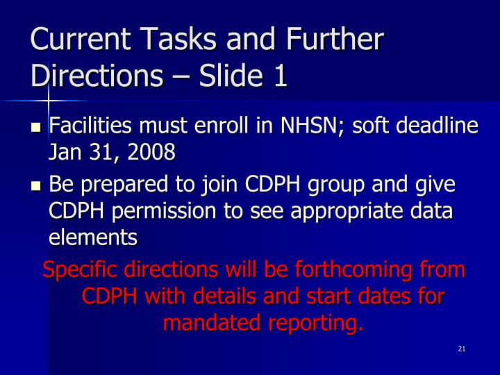 Current Tasks and Further Directions – Slide 1