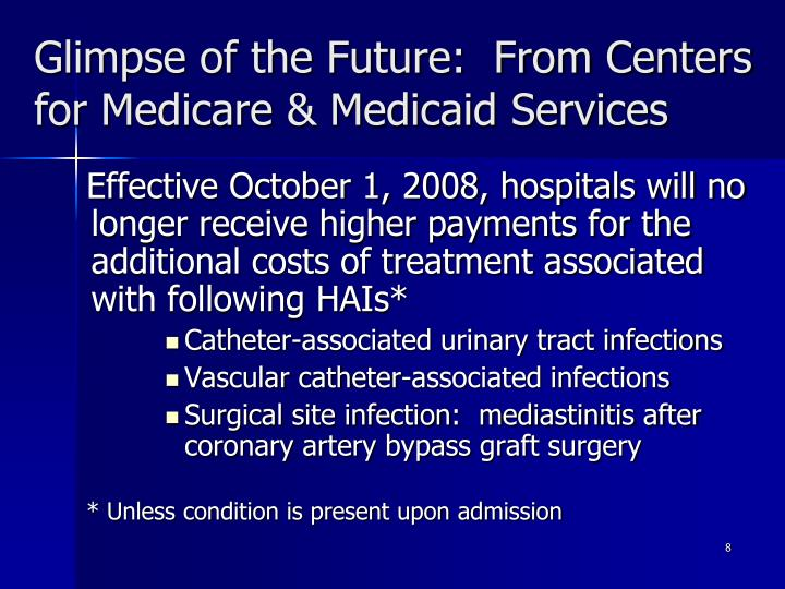 Glimpse of the Future:  From Centers for Medicare & Medicaid Services