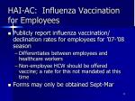 hai ac influenza vaccination for employees
