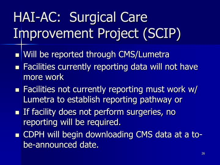 HAI-AC:  Surgical Care Improvement Project (SCIP)