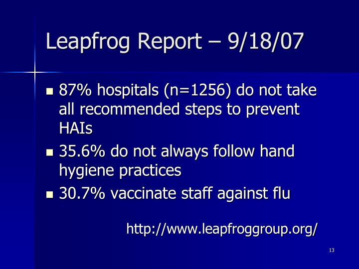 Leapfrog Report – 9/18/07