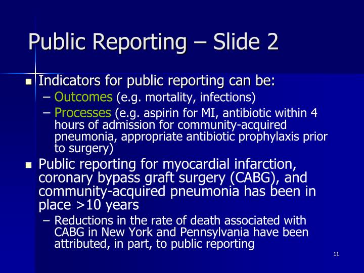 Public Reporting – Slide 2