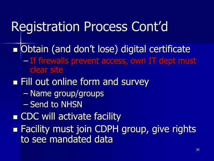 Registration Process Cont'd