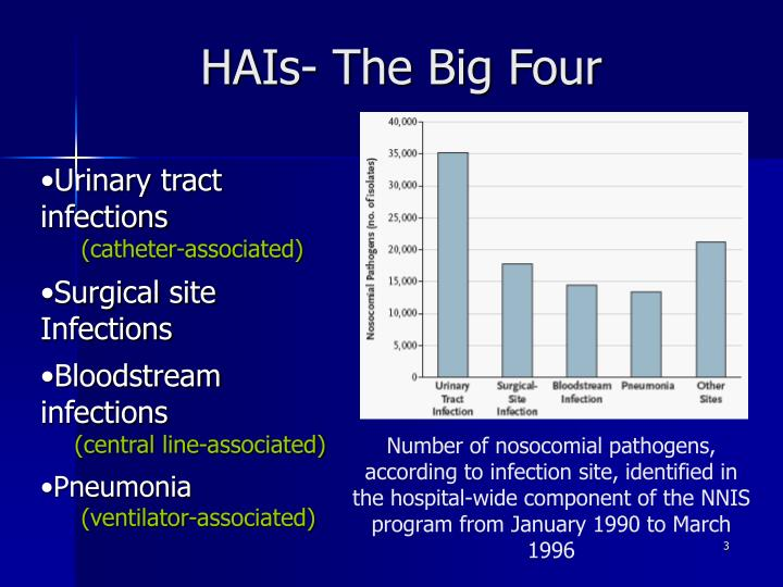 Number of nosocomial pathogens, according to infection site, identified in the hospital-wide compone...