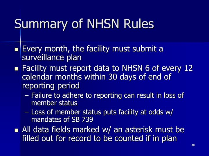 Summary of NHSN Rules