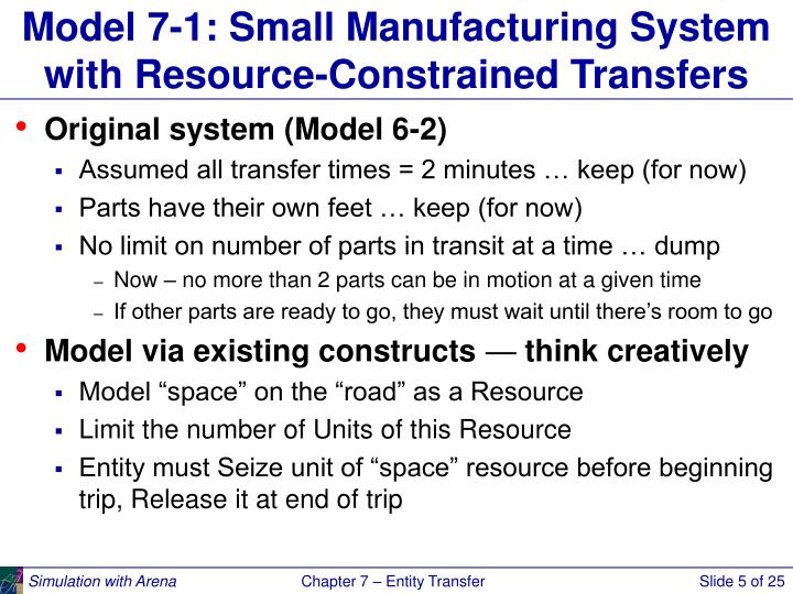 Model 7-1: Small Manufacturing System with Resource-Constrained Transfers