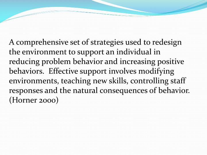 A comprehensive set of strategies used to redesign the environment to support an individual in reducing problem behavior and increasing positive behaviors.  Effective support involves modifying environments, teaching new skills, controlling staff responses and the natural consequences of behavior.   (Horner 2000)