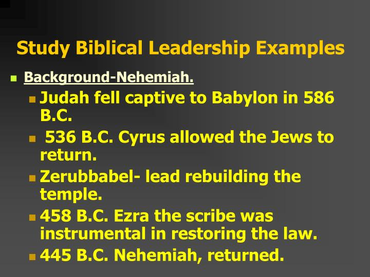 Study Biblical Leadership Examples