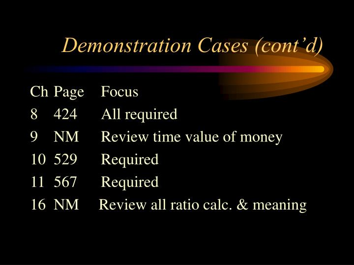 Demonstration cases cont d