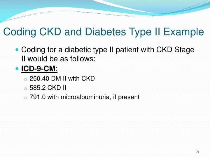 Coding CKD and Diabetes Type II Example