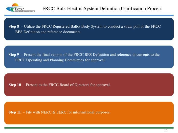 FRCC Bulk Electric System Definition Clarification Process
