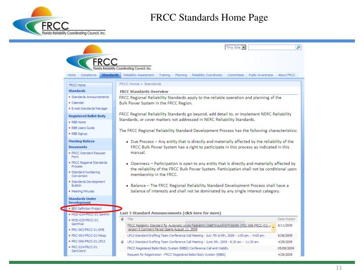 FRCC Standards Home Page