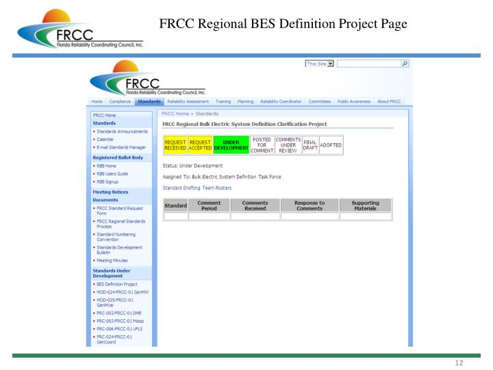 FRCC Regional BES Definition Project Page