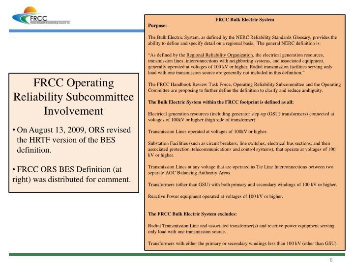 FRCC Bulk Electric System