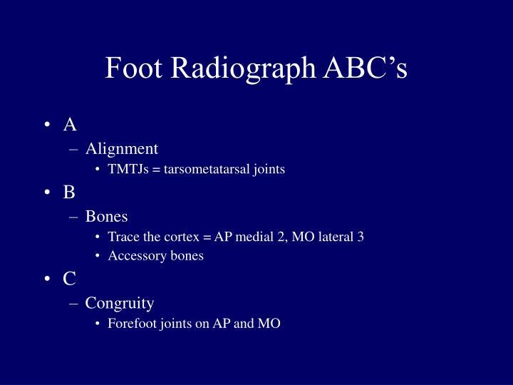 Foot Radiograph ABC's