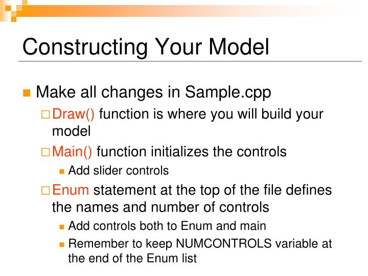 Constructing Your Model