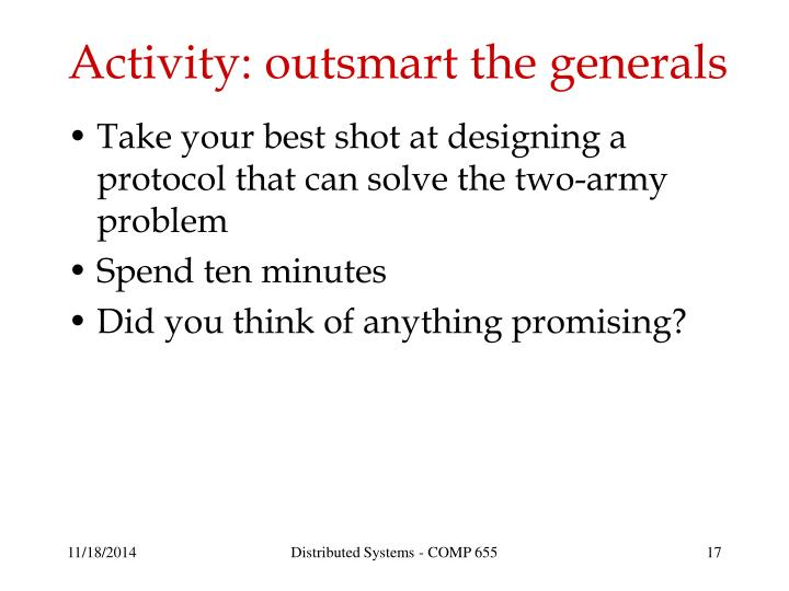 Activity: outsmart the generals