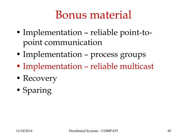 Bonus material
