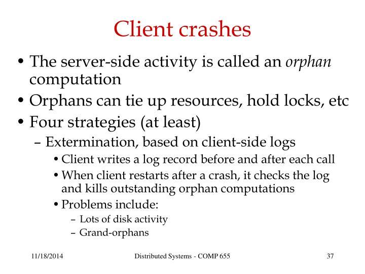 Client crashes