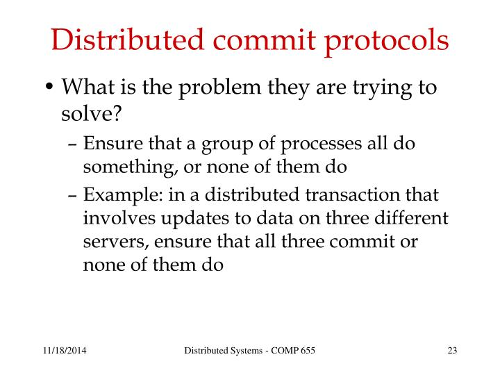 Distributed commit protocols