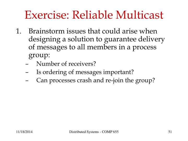 Exercise: Reliable Multicast