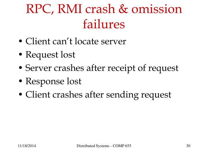 RPC, RMI crash & omission failures