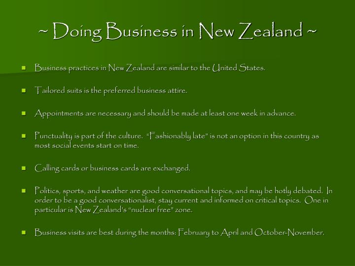 ~ Doing Business in New Zealand ~