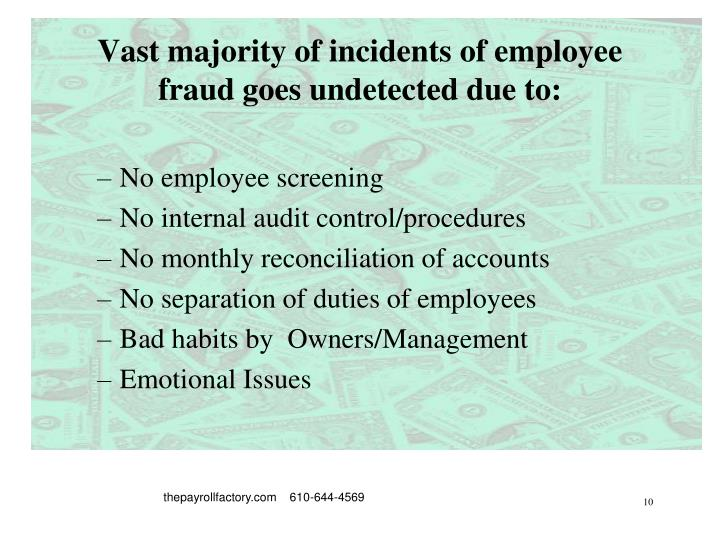 Vast majority of incidents of employee fraud goes undetected due to: