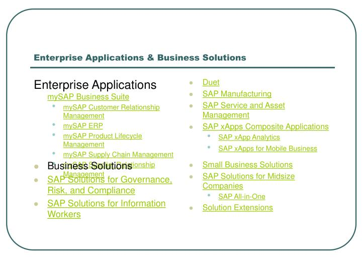Enterprise Applications & Business Solutions