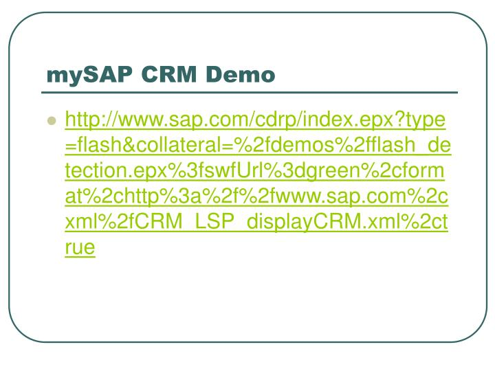 mySAP CRM Demo