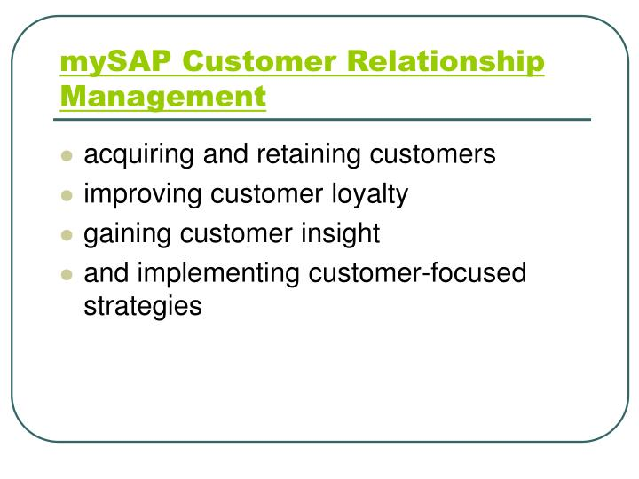 mySAP Customer Relationship Management