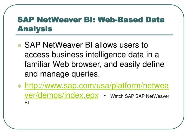 SAP NetWeaver BI: Web-Based Data Analysis