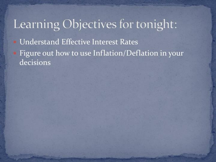 Learning Objectives for tonight: