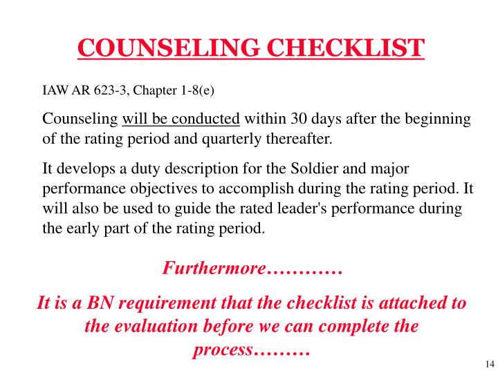 COUNSELING CHECKLIST