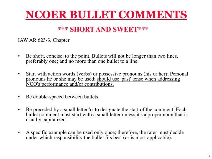 NCOER BULLET COMMENTS