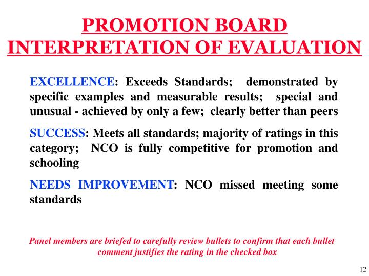 PROMOTION BOARD INTERPRETATION OF EVALUATION