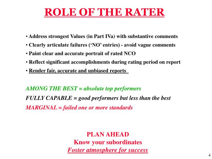 ROLE OF THE RATER
