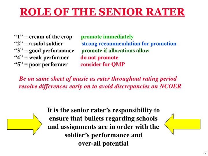 ROLE OF THE SENIOR RATER