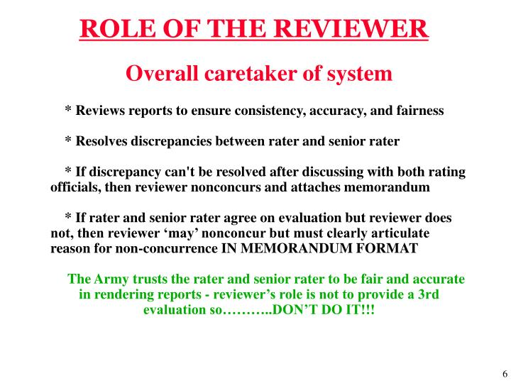 ROLE OF THE REVIEWER