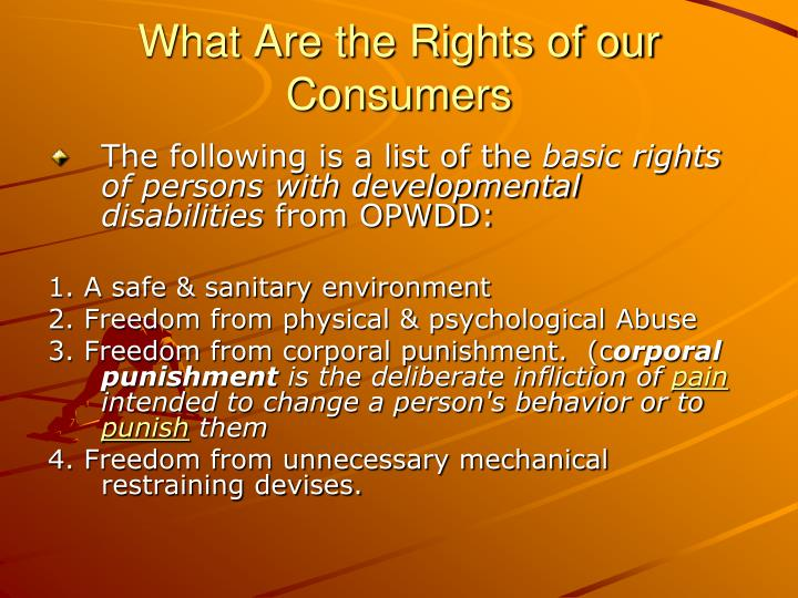 What Are the Rights of our Consumers