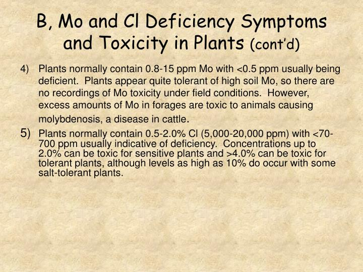 B, Mo and Cl Deficiency Symptoms and Toxicity in Plants