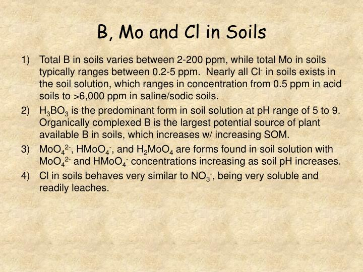 B, Mo and Cl in Soils