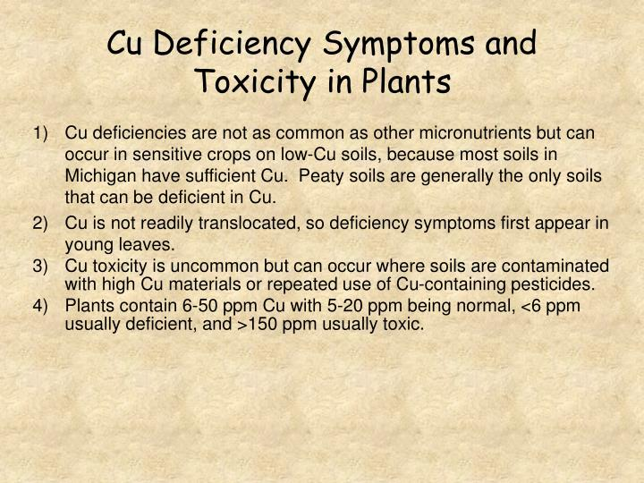Cu Deficiency Symptoms and Toxicity in Plants