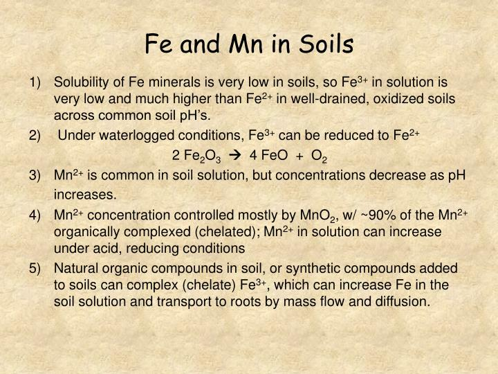 Fe and Mn in Soils