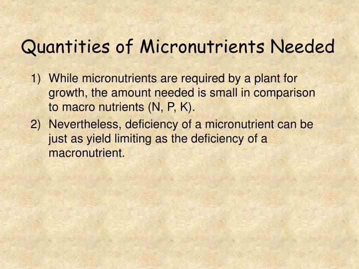 Quantities of Micronutrients Needed