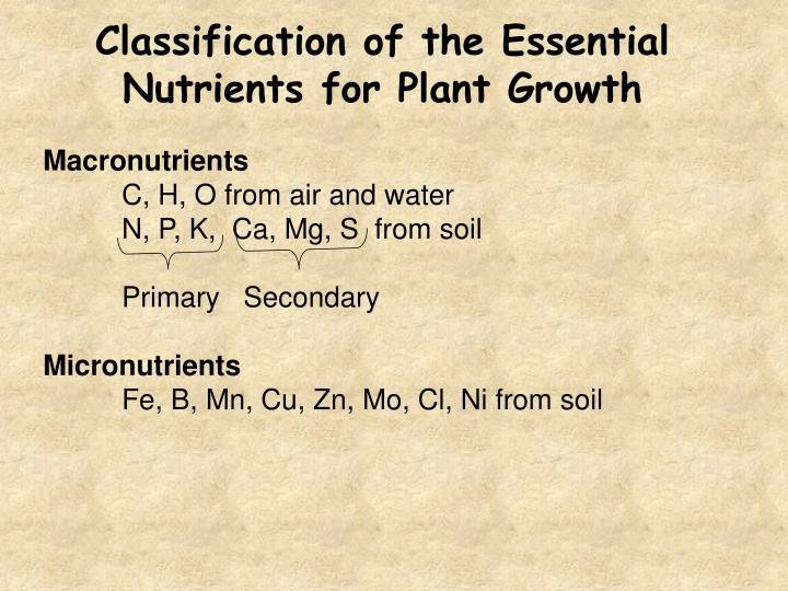 Classification of the Essential Nutrients for Plant Growth