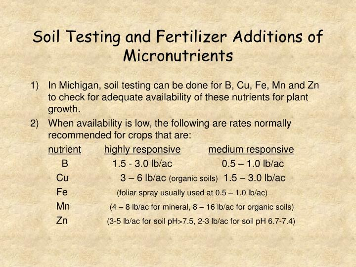 Soil Testing and Fertilizer Additions of Micronutrients